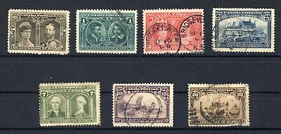 7x Canada 1908 Quebec Tercent. Used stamps: No. 96 to 101 + 103 F CV=$450.00.