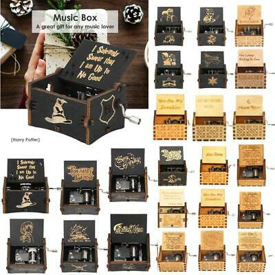 Vintage Exquisite Wooden Hand Cranked Music Box Home Crafts Children Gifts Decor