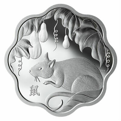 Lunar Lotus-Scallop Shaped 18579 Prf $15 Fine Silver Coin 2019 /'Year of the Pig