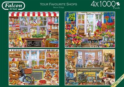 NEW! Falcon de luxe Your Favourite Shops 4 x 1000 piece nostalgic puzzle set