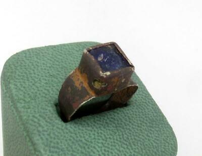 200-400 AD Ancient Roman Silver Alloy Ring w/ Blue Glass Inlay