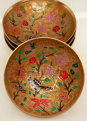 Vintage Brass Enameled Decorative Dishes Made in India Hand Painted Cloisonne Bi