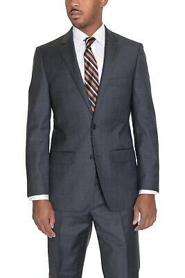 $400 Men's DKNY Slim Fit Two Button Solid Gray 100% Wool Flat Front Suit