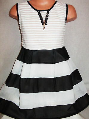GIRLS STRIPE PATTERN LACE BLACK & WHITE CHIFFON CONTRAST PARTY DRESS age 5-6