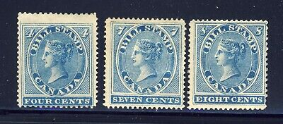 3x Federal Bill Stamps 1864 1st Issue FB-4-7-8 Uncancelled MNG Cat. Value $60.00