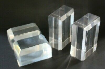 Vintage Mid Century Modern Lucite Acrylic Deco Pair Of Bookends & Paperweight