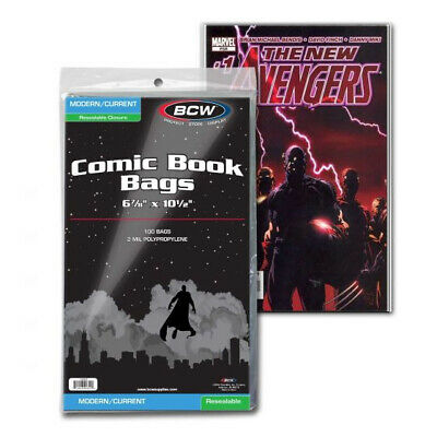(2000) Bcw Comic Book Resealable Current Modern Age 2 Mil Soft Poly Storage Bags