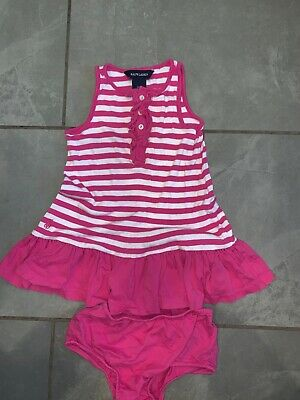 Ralph Lauren POLO Girl's Pink 18 months Infant Baby Dress 2 pc outfit 18M