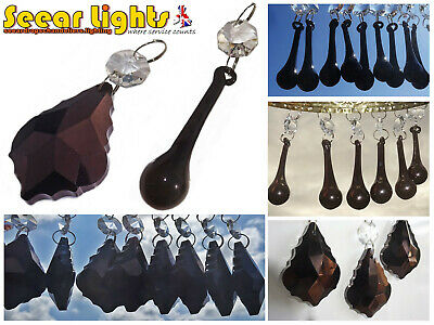 Chandelier Black Cut Glass Crystals Drops Beads Droplets Light Lamp Parts Retro
