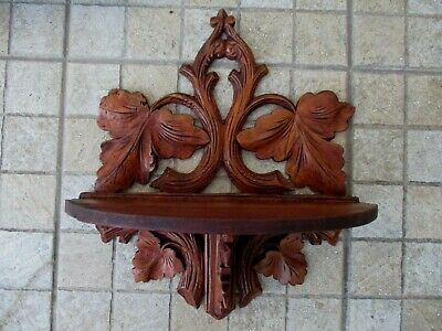 True Vintage Beautiful Corbel Wall Shelf Bracket Black Forest Art Wood Carved