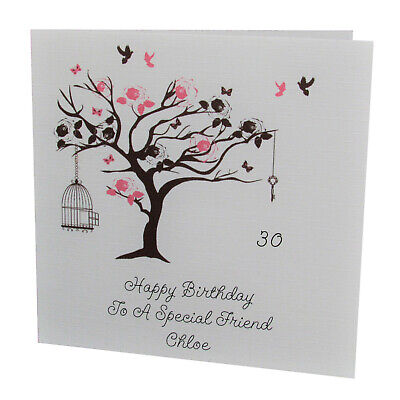 HANDMADE PERSONALISED Bird Tree FEMALE Relation BIRTHDAY CARD 18th 21st 30th