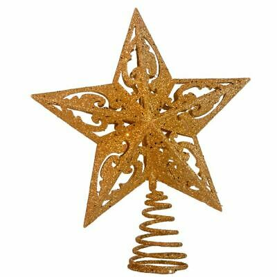 "Star Tree Topper Small Gold Glitter Cut Out Wire Christmas Metal 8"" Kurt Adler"