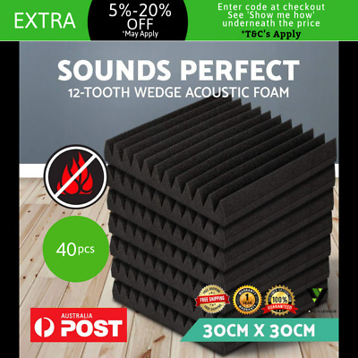 Set of 40 Studio Acoustic Foam Sound Proof Wedge Panel Noise Cancelling Tiles