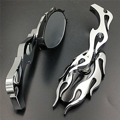 Flame Oval Rearview Mirrors For Honda Yamaha Suzuki Kawasaki Cruiser Chopper Au