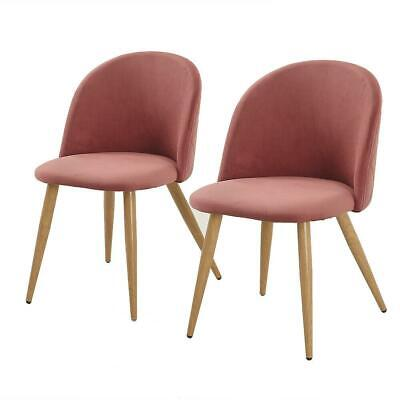 Set of 2 Modern Dining Accent Side Chairs Wood Legs Home Furniture Pink
