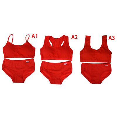 Young girls red bras underwear set sport wireless training puberty bras brief FT