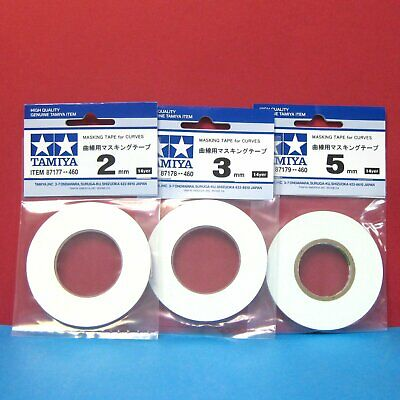 Set of 3 pieces Tamiya Masking Tape for CURVES [2mm, 3mm, 5mm]  14 yer each