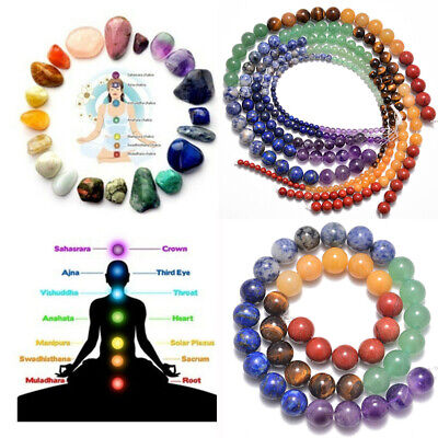 "Healing Reiki 7 Chakras Yoga Natural Gemstone Round Beads 16"" 4mm 6mm 8mm 12mm"
