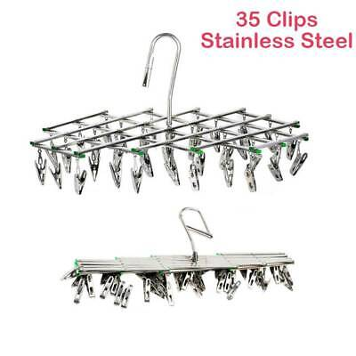 35 Pegs Stainless Steel Laundry Socks Washing Clothes Airer Dryer Rack Hanger