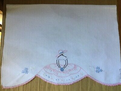 Vintage Hand embroidered Guest / Hand Towel - Crinoline Lady