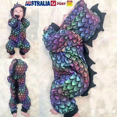Newborn Baby Boy Girl Dinosaur Hooded Romper Bodysuit Jumpsuit Clothes Outfits P
