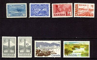 8x Canada $1.00 stamps #262 MNG-302-321-411-465b-599-937  CV=$160.00+