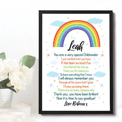 Personalised Rainbow Childminder Thank You Teacher Gift School Leaving Gift