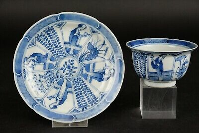 Antique Handpainted Chinese Blue & White Cup and Saucer 19thC Kangxi Mark