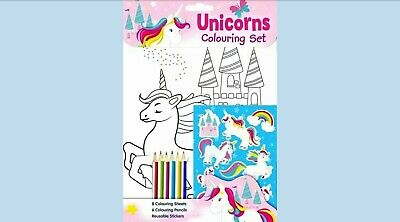 Children's Unicorn Colouring Set Book  Stickers Pencils Colouring Activity Sheet