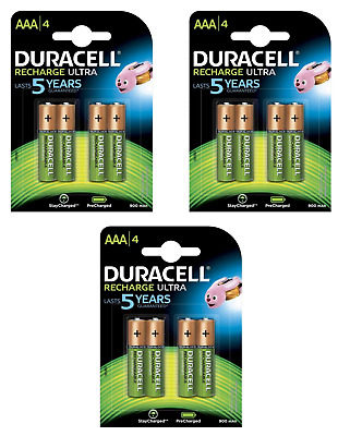 12 piles AAA DURACELL rechargeables HR03 900 mAh