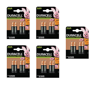 20 piles AAA DURACELL rechargeables HR03 900 mAh