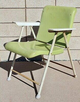 RUSSEL WRIGHT Chartreuse White Folding Patio Chair SAMSON Vntg MidCentury Modern