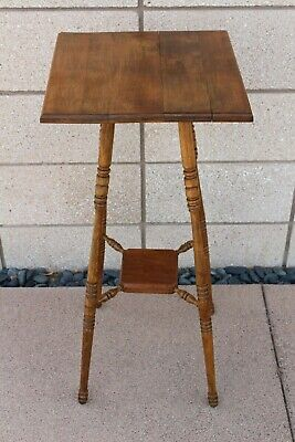 Antique Solid Wood Fern Stand Plant Table with Walnut Top? Oak Legs Cherry Shelf