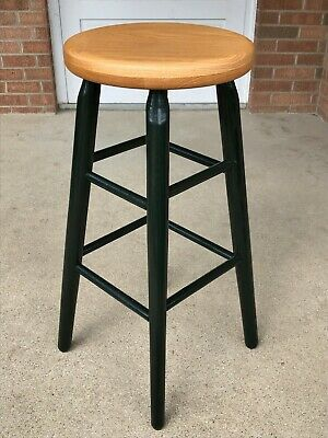 Vintage Solid Oak Wood Bar Stool with Natural Finish Seat Green Painted Legs VGC