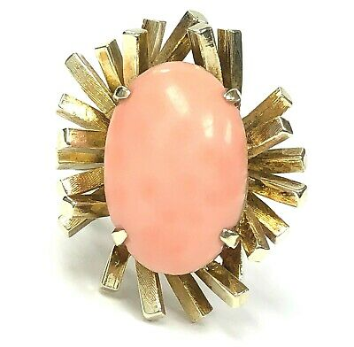 Mid Century Vintage 14K Gold & 7.00 ct Light Pink Natural Coral Solitaire Ring