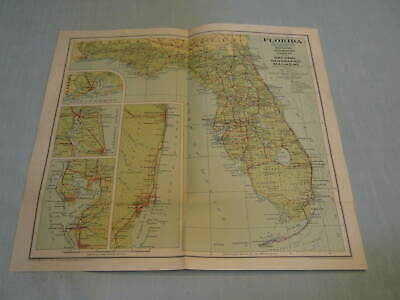ANTIQUE FLORIDA MAP National Geographic January 1930