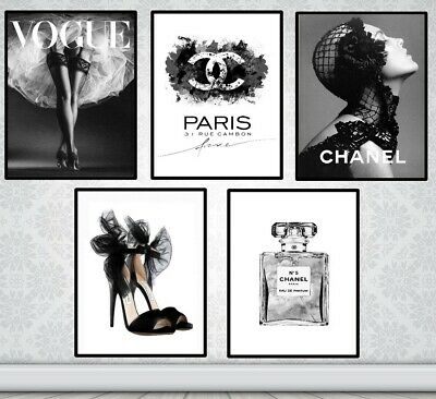 Set Of 5 Coco Chanel Art Prints - Vogue Prints - Chanel Grey Prints Bow Shoes A4