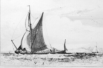 THAMES BARGE Boat off Northfleet England - Antique Etching Print by E.W. Cooke