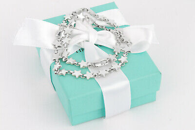 """RARE Tiffany & Co. Sterling Silver Chain of Stars Link 16"""" Necklace w/Packaging"""