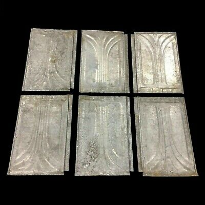 Lot of 6 Antique Vintage Ceiling Tin Reclaimed Salvage Art Craft