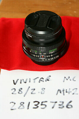 Vivitar 28mm f/2.8 MC Wide Angle Prime Lens M42 Screw Mount - FUNGUS, WORKS