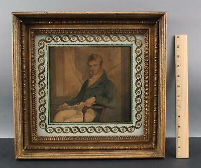 19thC Antique c1810 Watercolor Portrait Painting of Young Man w/ Gilt Frame
