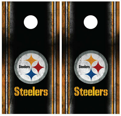 Pittsburgh Steelers Cornhole Board Wraps Skins Vinyl Laminated HIGH QUALITY!