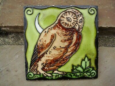 Lovely Antique / Vintage Tile Depicting An Owl And Crescent Moon.