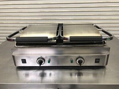 Double Panini Grill Stainless Steel Electric 220V Grooved Top & Bottom #2430