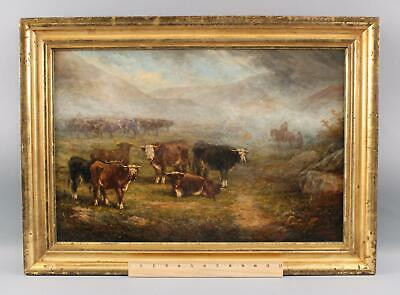 1869 Antique Edmund A. V. Willis Western Cowboy Cattle Drive Oil Painting