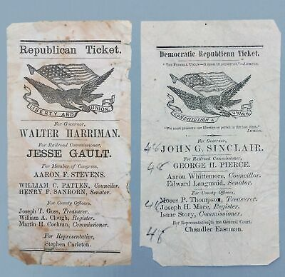 1867 CAMPAIGN TICKETS, NEW HAMPSHIRE BATTLE- WALTER HARRIMAN vs JOHN G. SINCLAIR