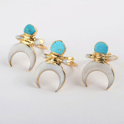 Adjustable Gold Plated Moon White Seashell & Pearl Natural Turquoise Ring BG1862