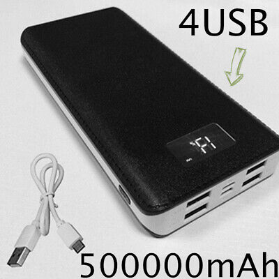 UK Portable 4 USB External Battery Huge Capacity 500000mAh PowerBank for Phone