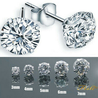 Brilliant 2Pcs Surgical Steel AAA CZ Crystal Studs Earrings